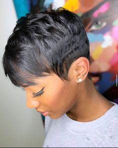 Short Relaxed Hairstyles, Girls Short Haircuts, Dope Hairstyles, Hairstyle Ideas, Hair Ideas, Natural Hair Short Cuts, Short Sassy Hair, Short Hair Cuts, Pixie Cuts