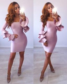 <SALE - Get your frill on in our gorgeous 'CARISSA' Dress. Hug hipping bandage style which accentuates the prettiest frilly bell sleeves in an on trend blush color! Pair up with heels for the perfect look for any occasion! Tight Dresses, Casual Dresses, Summer Dresses, Formal Dresses, Pink Outfits, Fashion Outfits, Fashion Clothes, Women's Fashion, Evening Gowns On Sale