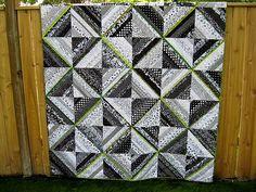 Black, White & Lime Green String Quilt