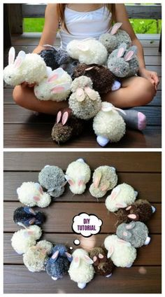 Easter DIY Pom Pom Bunny Tutorials – DIY Magazine Easter DIY Pom Pom Bunny Tutorials – DIY Magazine,Bastel-Ideen Cute DIY Pom Pom Easter Party Bunnies Craft Tutorials Related ideas for crafts for teenage. Bunny Crafts, Easter Crafts For Kids, Cute Crafts, Yarn Crafts, Diy And Crafts, Wood Crafts, Kids Diy, Decor Crafts, Creative Crafts