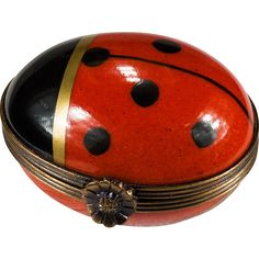 Rare Red Lady Bug Trinket Box Peint Main Limoges France Signed