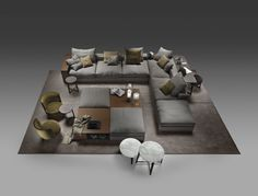 flexform. sectional. groundpiece. contemporary italian.