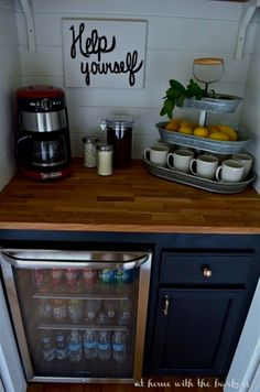 Diy Beverage Bar Made With Stock Cabinets Chalky Finish Paint And Butcher Block This