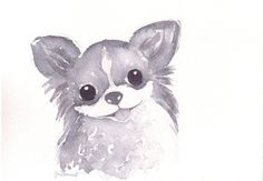 Chihuahua Peinture aquarelle originale par ChihuahuaPainter sur Etsy