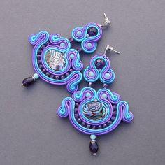 Earrings soutache Field lavender shell Paua by BlueButterflybizu
