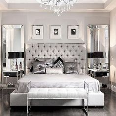 This modern glam bedroom uses shiny and lustrous fabrics, metallics and hues of grey, silver and black to create a glamorous and modern bedroom design. Glam Bedroom, Home Bedroom, Silver Bedroom Decor, Trendy Bedroom, Silver And Grey Bedroom, Silver Room, Modern Grey Bedroom, Small Grey Bedroom, Bedroom Classic