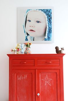 bright red painted cabinet