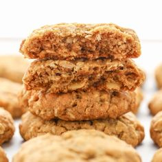 Oatmeal Protein Cookies, Protein Cookie Recipe, Oatmeal Cookie Recipes, Sweets Recipes, Just Desserts, Baking Recipes, Delicious Desserts, Snack Recipes, Yummy Treats