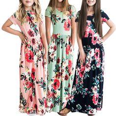 f401a1f9c Y Toddler Girls Floral Dress Short Sleeve Long Maxi Dress Holiday Sundress