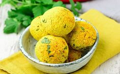 These turmeric falafel balls are moist, fluffy, and flavorful, but not too heavy.