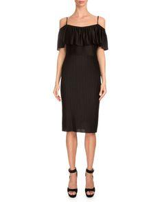 GIVENCHY Off-The-Shoulder Ruffle Sheath Dress, Black. #givenchy #cloth #