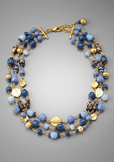 LAUREN BY RALPH LAUREN Triple-Row Beaded Necklace with Metal Discs