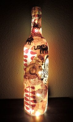NEW Wine Bottle Light Wine Bottle Lamp by cutelittlecanvases, $45.00