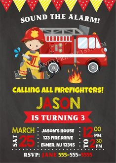 Firetruck Invitation Fireman Invitation Firetruck Birthday Invitation  Fireman Invite Firefighter Inv Bombeiro b35cfac1b1c