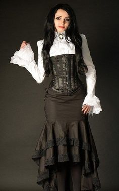 Rock lang Steampunk Fishtail Skirt Victorian Mermaid  Lace Mera Luna Gothic RQ