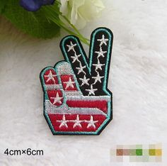New to craftapplique on Etsy: finger peace sign punk patches funny OK Gesture Embroidered applique embroidery iron on patch sew on patch (A101) (1.90 USD)