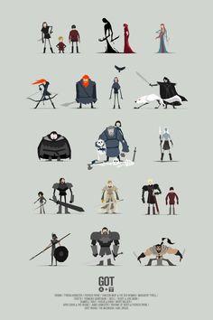 Les illustrations minimalistes de Game of Thrones par Jerry Liu Tatouage Game Of Thrones, Dessin Game Of Thrones, Game Of Thrones Tattoo, Got Game Of Thrones, Game Of Thrones Posters, Game Character Design, Character Concept, Character Art, Got Characters