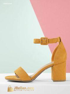 a9cd8ce8043 Faux Suede Ankle Strap Low Block Heel Sandals Suede Bracelet