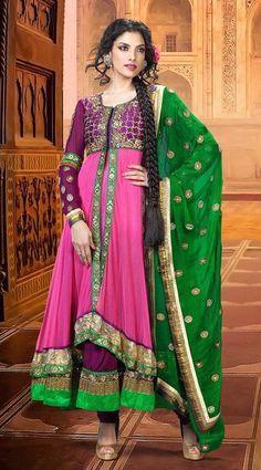 Pink Faux Georgette Embroidered Long Anarkali Salwar Kameez