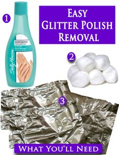 This seriously works! You look like you have alien tinfoil fingers but it is the easiest an quickest way to get glitter nail polish off! I know from personal experience :)