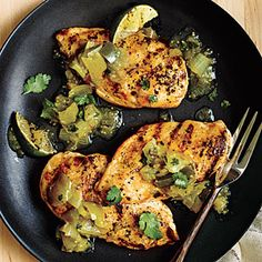 KAE says: This was super easy and delicious. I used low sodium broth and braised the chicken instead of cooking in oil and added some tomatoes to the chile verde. Cooking Light Chicken with Quick Chile Verde Recipe Pork Chop Recipes, Chicken Recipes, Healthy Chicken, Grilled Chicken, Mole, Slow Cooker, Salad Menu, Dip, Lime Recipes