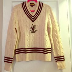 Limited edition Ralph Lauren Rugby sweater size S Cream/beige colored v-neck wool sweater by Ralph Lauren limited Rugby collection. Size small fits as a medium (bit of stretch) This beautiful sweater is the definition of preppy and a classic piece. No longer found in any Ralph Lauren stores I bought this for full retail price at a Ralph Lauren store in midtown Manhattan, wore it once and folded it in the closet. It's in perfect new condition !!Make an offer :). NEW PRICE!!!❤️ Ralph Lauren…