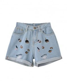 Dessert Embroidery Pattern Print Light Blue Denim Shorts