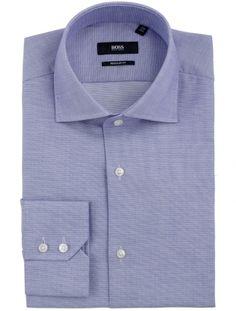 Hugo Boss Black Cotton 'Gerald' Shirt in Lilac  Double button single cufflink