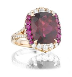 Rubelite, pink sapphire and diamond ring from Levinson Jewelers