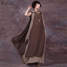 ZANZEA Women Dress 2017 Summer Vintage Casual Loose Sleeveless Vestidos Sexy Ladies O Neck Splice Plus Size Long Maxi Dresses