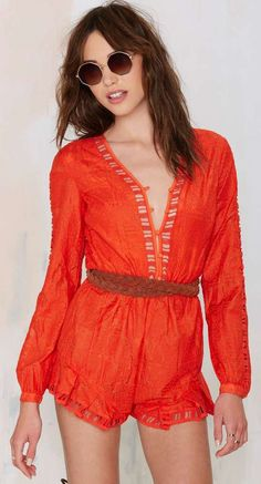 The Jetset Diaries Sundown Embroidered Romper