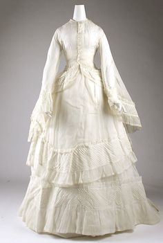 1873 Victorian Cotton Wedding Dress, American.