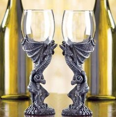 2 Dragon Wine Glass Bar Goblets Medieval Goth Castle Renaissance