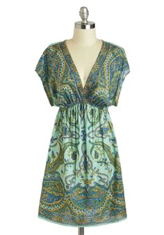 Palazzo to Love Dress - Short, Green, Multi, Print, Casual, A-line, Short Sleeves, V Neck