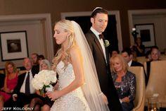 Groom walking around the bride during a jewish wedding at Broken Sound Country Club in Boca Raton FL