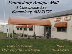Emmitsburg Antique Mall EMMITSBURG, MD. Located in historic Emmitsburg is a 36,000-square-foot shopping destination. This expansive antique complex boasts 120 shops and is overflowing with treasures—glassware, furniture, linens, quilts, primitives, jewelry, coins and toys. They have every antique and collectible you've ever coveted, and sell them for very competitive prices. The dealer booths are abound with everything from Victorian to Shabby Chic.