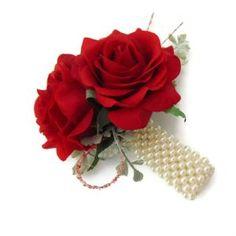 Red Rose Wrist Corsage Bracelet Red Corsages, Orchid Corsages, Bridesmaid Corsage, Corsage Wedding, Wrist Corsage Bracelet, Prom Flowers, Buttonholes, Quinceanera, Artificial Flowers
