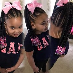 For Girls Hairstyles For Girls: Lovely Braids For Beautiful Girls Toddler Braided Hairstyles, Toddler Braids, Black Kids Hairstyles, Girls Natural Hairstyles, Baby Girl Hairstyles, Braids For Kids, Girls Braids, Toddler Hair, Kid Braids