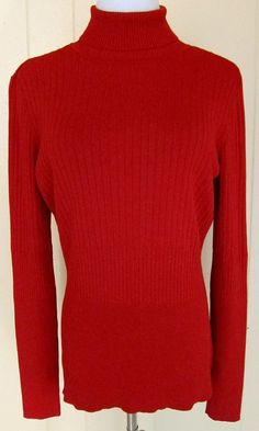 Worthington Women's Size L Red Sparkle Turtleneck Sweater #Worthington #TurtleneckMock