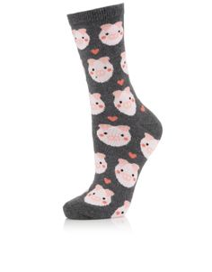 All Over Pig Sock | Grey | Accessorize