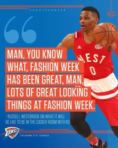 Russell Westbrook isn't interested in talking about KD at NBA All-Star Weekend.  He just wants to talk about fashion. 😂