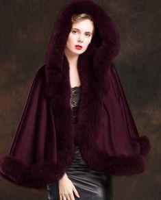Real Fur Coat & Jacket | Real Fur Coat & Jacket | Fox Trimmed Cashmere Cape | SKU-ffcafo138b | Fur Shop Online Cashmere Cape, 2 Way, Mink Fur, Fox Fur, Fur Jacket, Fur Trim, Wine, Fur Coats, How To Wear