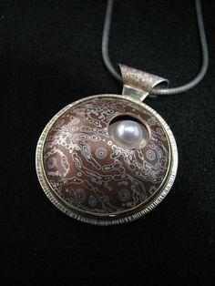Custom Made Mokume Gane, Gold, Silver and Akoya pearl