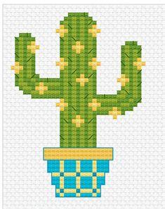 Modern Cross Stitch – Sweet Little Cactus Cross Stitch Pattern by Tiny Modernist Modern Cross Stitch Sweet Little Cactus Kreuzstichmuster Cactus Cross Stitch, Tiny Cross Stitch, Cross Stitch Borders, Simple Cross Stitch, Cross Stitch Flowers, Modern Cross Stitch, Cross Stitch Designs, Cross Stitching, Cross Stitch Embroidery