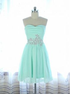 2015 New Style Mint Green Homecoming Dresses A Line Beaded Chiffon Short Prom Dress For Summer Teen Maids - Thumbnail 2 Green Homecoming Dresses, Prom Dress 2013, Cute Prom Dresses, Grad Dresses, Dance Dresses, Pretty Dresses, Beautiful Dresses, Strapless Dress Formal, Dress Outfits