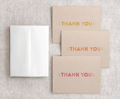Happy Day Bits - Typographic Thank You Cards, Set of 6 - Autumn Coral Red, Orange, Yellow - Eco Friendly, via Etsy.