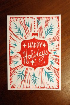 Pretty block printed card Buy handmade this year yall Eraser