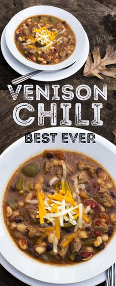 Its that time of year again when the weather is cold and nothing is better than a hot bowl of chili. We enjoy this wild venison recipe in our home and we thought we would share. The Best Ever Venison Chili Recipe Ingredients 2 pounds venison cubed or gr Elk Recipes, Chilli Recipes, Wild Game Recipes, Cooking Recipes, Cooking Chili, Cooking Games, Recipes With Deer Meat, Supper Recipes, Cooking Venison