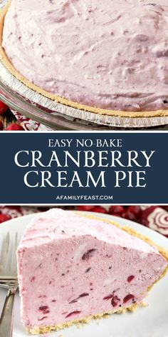 This No-Bake Cranberry Cream Pie couldn't be any easier to make! This No-Bake Cranberry Cream Pie couldn't be any easier to make! Dessert Simple, Christmas Desserts, Christmas Baking, Christmas Pies, Holiday Pies, No Bake Desserts, Easy Desserts, Healthy Desserts, Cranberry Pie