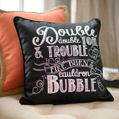 """Cast a Spell"" Accent Pillow ~ (item# 140311) 18""sq polyester fill cushion w/poly-cotton cover, ft. famous quote from Shakespeare's Macbeth, $18 